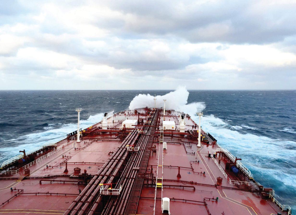 Euronav ship crashing into waves